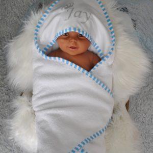 badcape omslagdoek baby gestreept-biesje-babyblauw