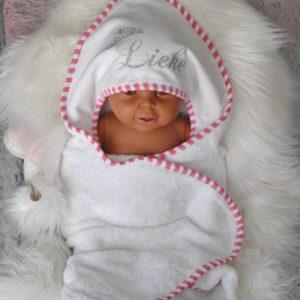 badcape omslagdoek baby gestreept bies baby roze